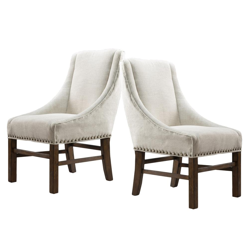 Studded Dining Chairs Noble House James Natural Fabric Studded Dining Chair Set Of 2