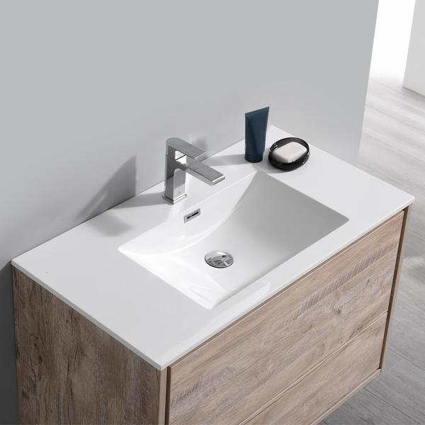 Fresca Catania 36 In Modern Wall Hung Bath Vanity In Rustic Natural Wood With Vanity Top In White With White Basin Fcb9236rnw I The Home Depot