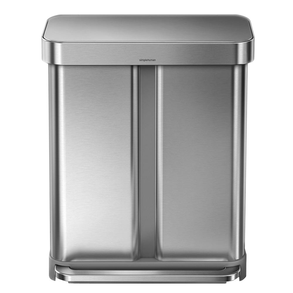 simplehuman kitchen trash can frigidaire appliances reviews 58 liter nano silver clear coat brushed stainless steel dual compartment rectangular recycling step on