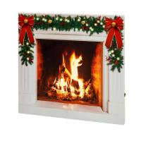 Mr. Christmas 28 in. Holiday IlluminArt Fireplace Canvas ...