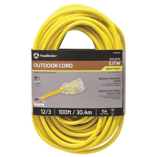 Outdoor Extension Cord 100 Ft. 12 Gauge Weather Resistant Jacket Lighted End