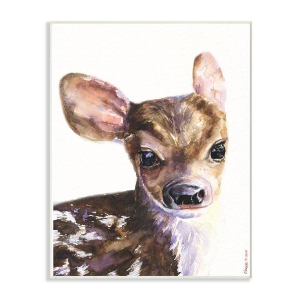 Stupell Industries 12 In X 18 In Cute Baby Deer By George Dyachenko Wood Wall Art Aap 323 Wd 12x18 The Home Depot