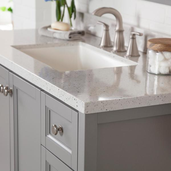 Home Decorators Collection Claxby 49 In W X 22 In D Bath Vanity In Sterling Gray With Solid Surface Vanity Top In Silver Ash With White Sink Cb48p2v2 St The Home Depot
