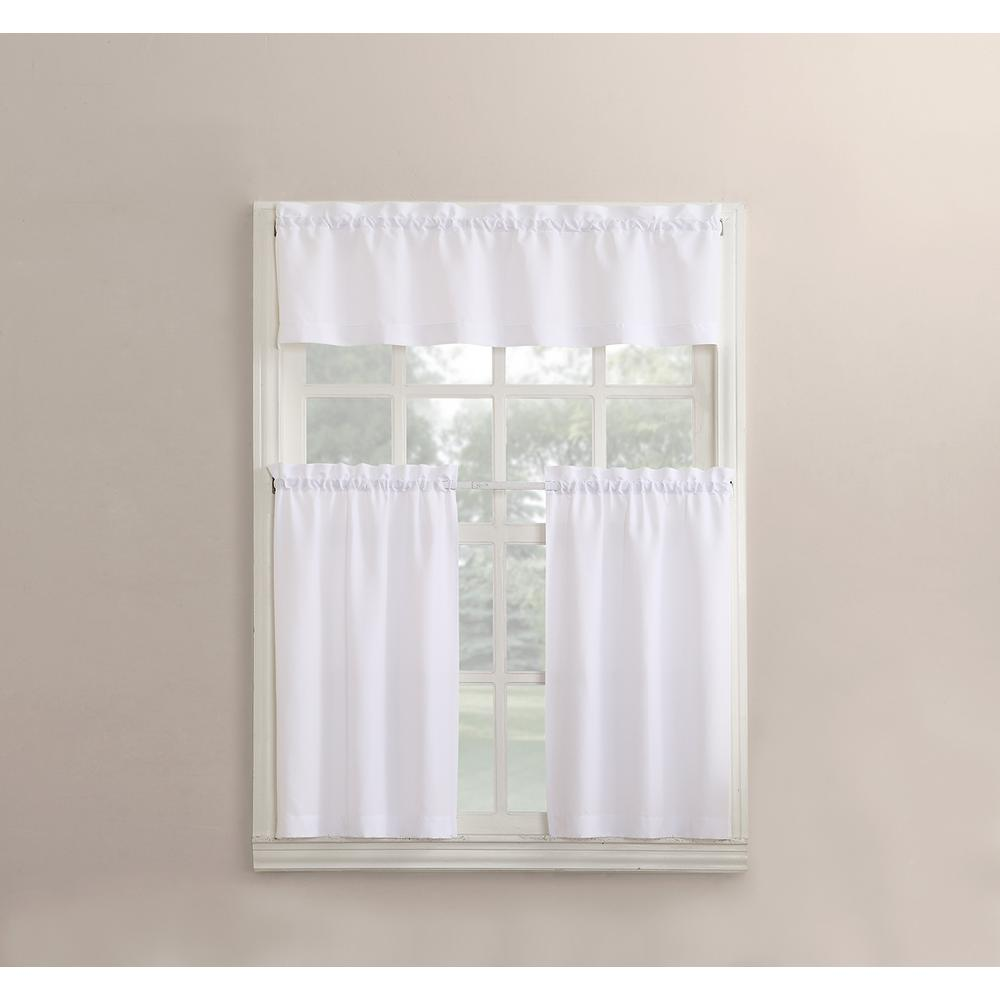No 918 Martine White Microfiber Kitchen Curtains 3Piece