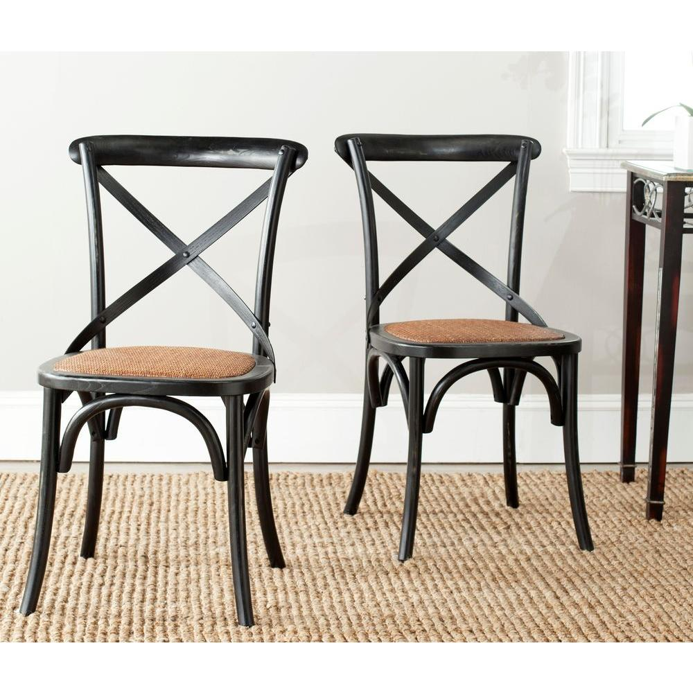distressed black dining chairs yugoslavia folding chair safavieh franklin hickory oak x back set of 2