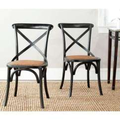 Black Cross Back Dining Chairs Desk Chair Leather Wood Kitchen Room Furniture Franklin Hickory Oak X Set Of 2