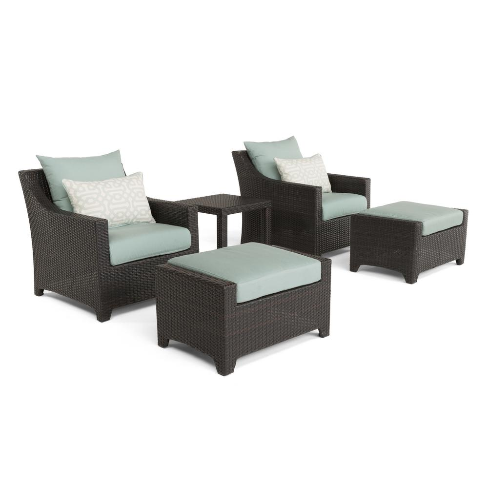 outdoor chair and ottoman cover rentals lawrenceville ga rst brands deco 5 piece all weather wicker patio club seating set with spa blue cushions