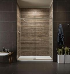 kohler levity 59 in x 82 in frameless sliding shower door in bronze with [ 1000 x 1000 Pixel ]