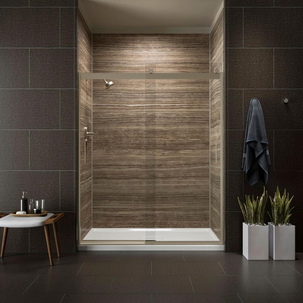 hight resolution of kohler levity 59 in x 82 in frameless sliding shower door in bronze with