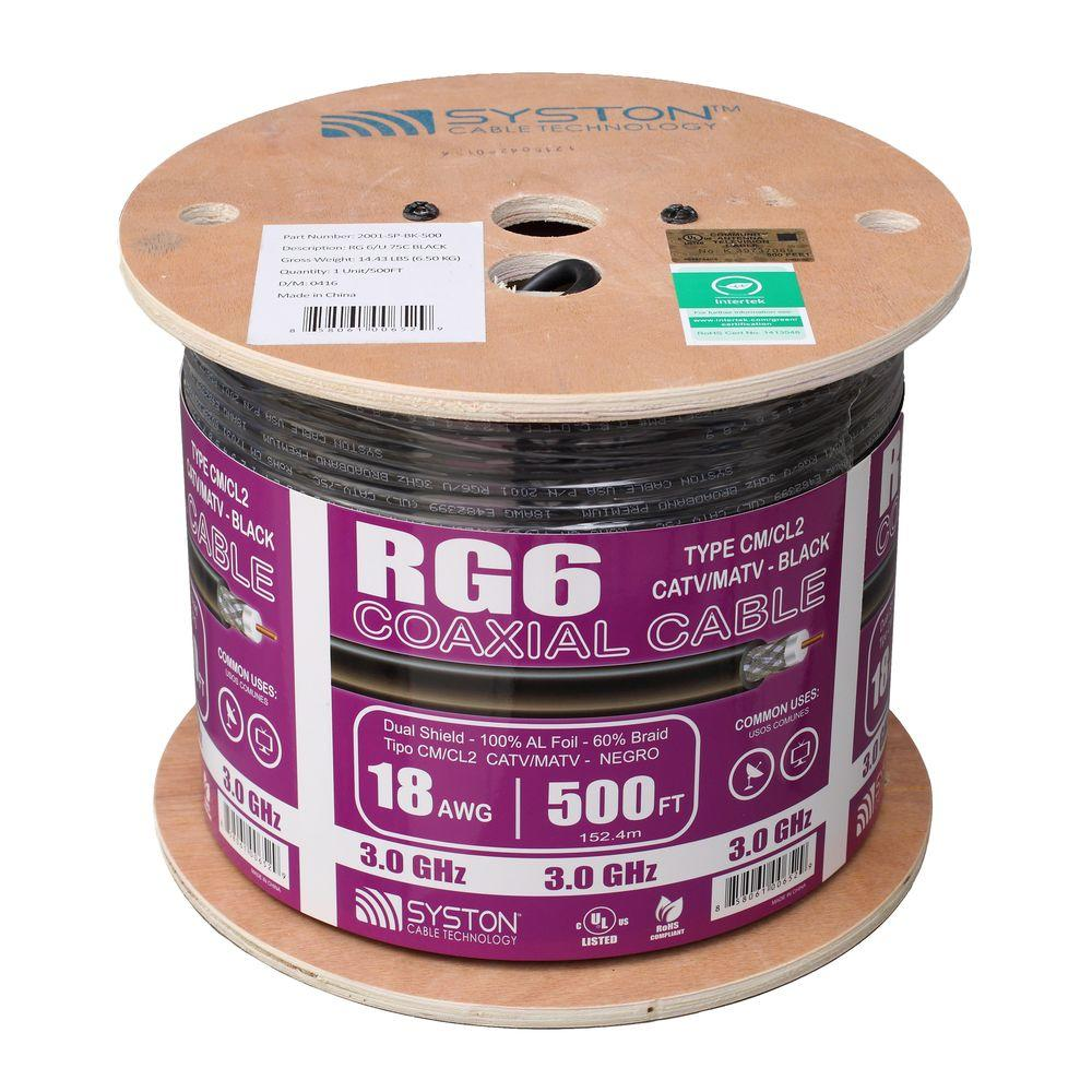 medium resolution of rg6 dual shield 500 ft black cm coaxial cable