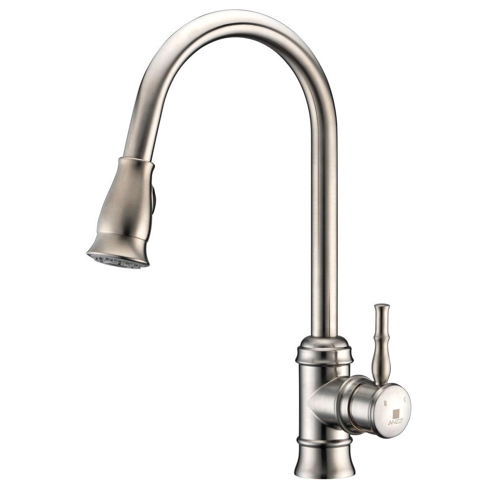 brushed nickel kitchen faucet with sprayer freestanding anzzi sails series single handle pull down in