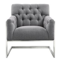 Contemporary Accent Chair Gaming Stool Armen Living Emily Grey Fabric In Brushed Stainless Steel Lceyhgrln The Home Depot