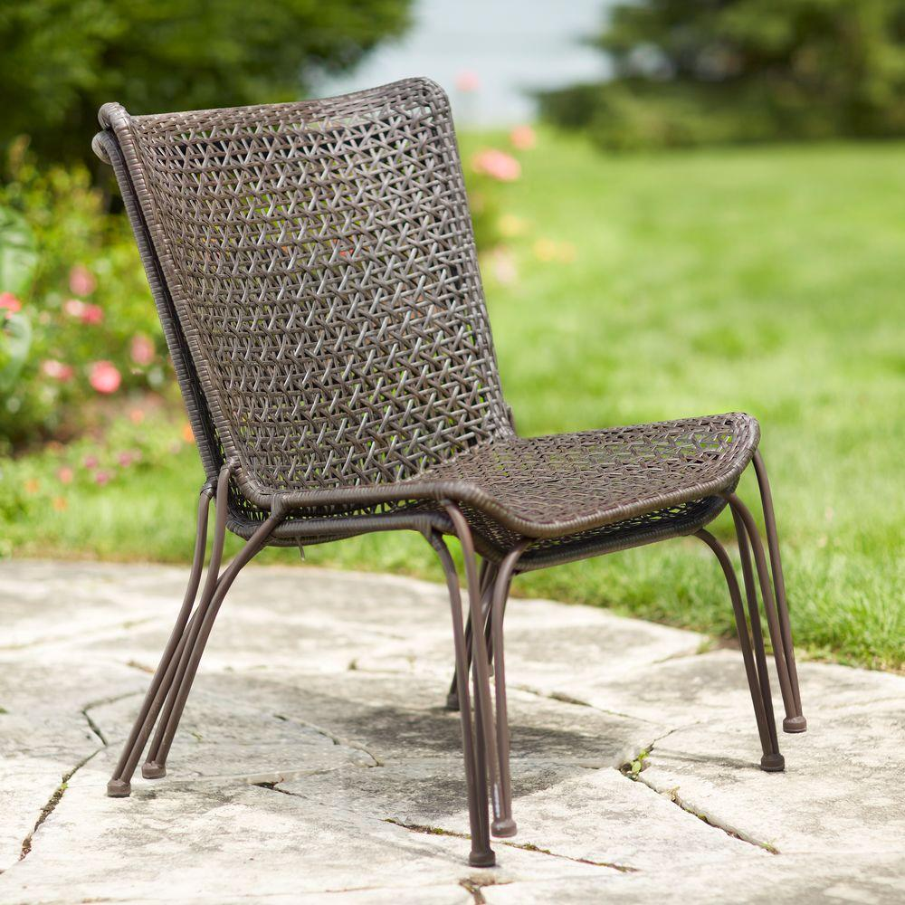 Hampton Bay Arthur AllWeather Wicker Patio Stack Chair 2PackHD16401  The Home Depot