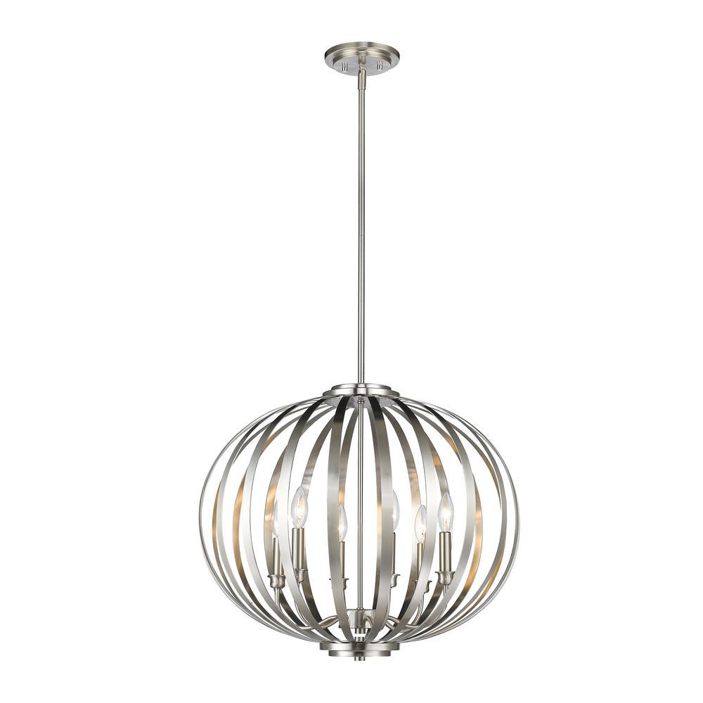 Filament Design Oberon 6-Light Brushed Nickel Pendant-HD
