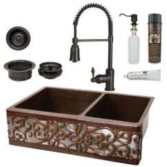 Copper Kitchen Sinks Bar Lights The Home Depot All In One 33 60 40 Double Bowl Scroll