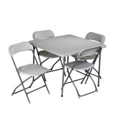 Folding Table And Chair Set Windsor Back Chairs Work Smart 5 Piece Grey Pct 05 The