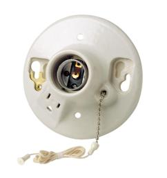 leviton porcelain lamp holder with pull chain and outlet [ 1000 x 1000 Pixel ]