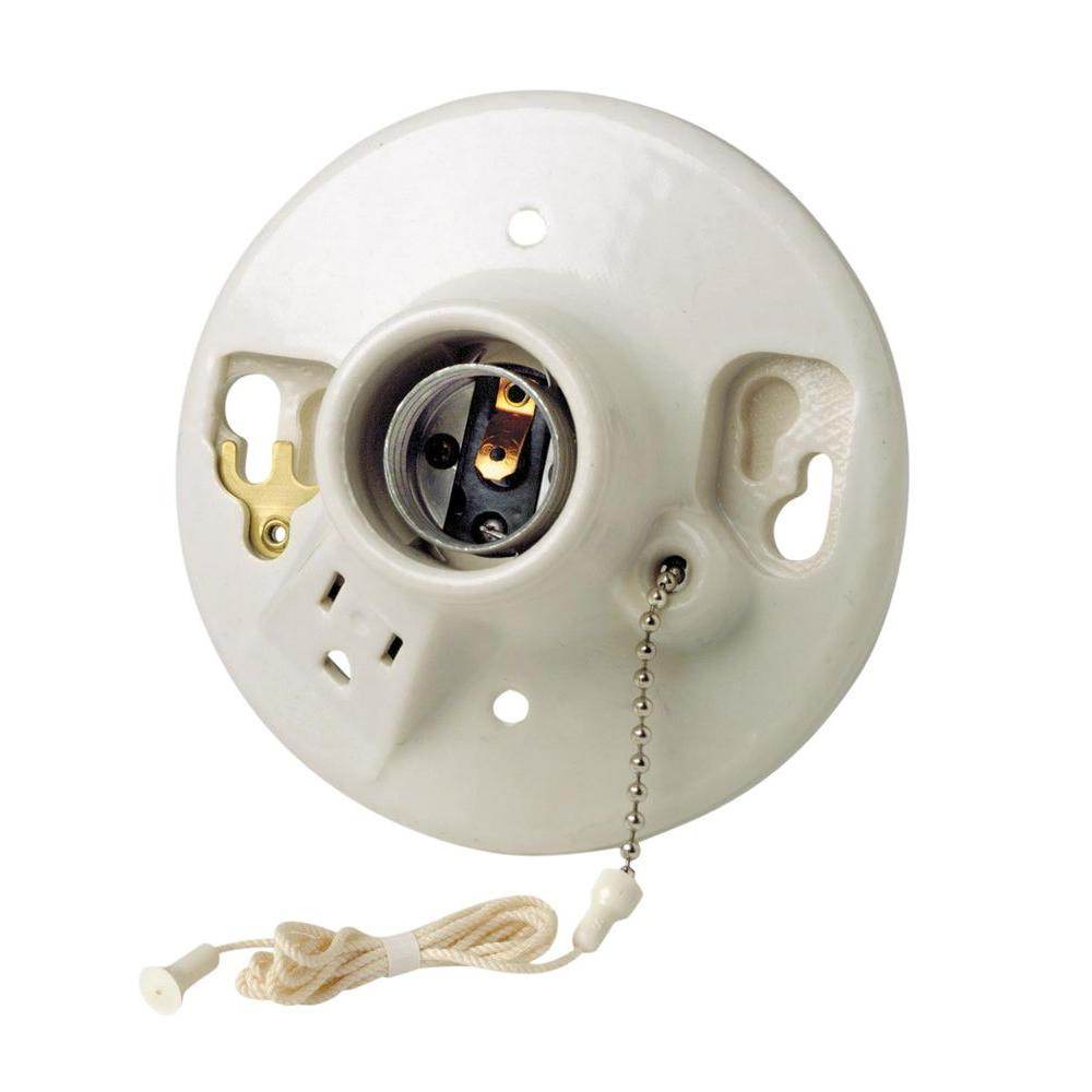 hight resolution of leviton porcelain lamp holder with pull chain and outlet