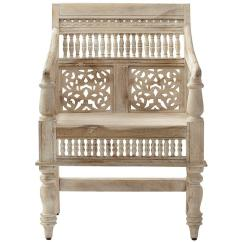 Wood Hand Chair Stool Second Home Decorators Collection Maharaja Sandblasted White Carved Arm