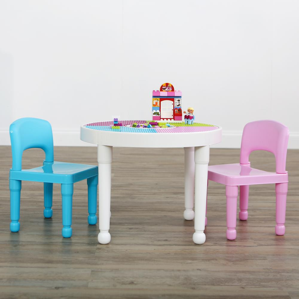 Table With 2 Chairs Tot Tutors Bright Colors 2 In 1 Plastic Lego Compatible Kids Activity Table And 2 Chairs Set