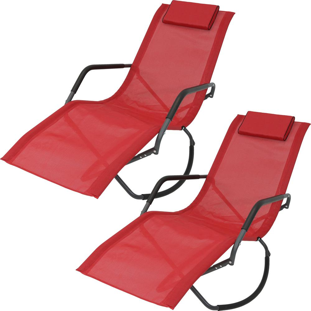 Folding Lounge Chair Sunnydaze Decor Red Folding Rocking Sling Outdoor Lounge Chair With Pillow Set Of 2