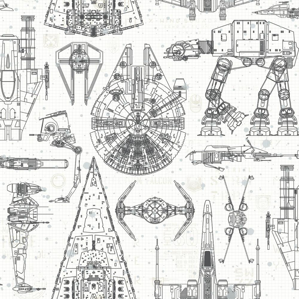 RoomMates 28.18 sq. ft. Star Wars Blueprint Peel and Stick