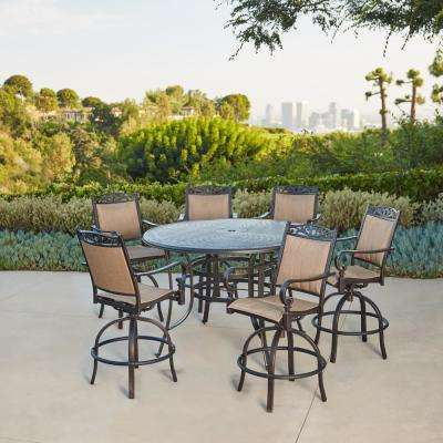 bar height table and chairs outdoor mary engelbreit chair of bowlies patio dining sets furniture the home depot tuscan estate aluminum sling 7 piece set