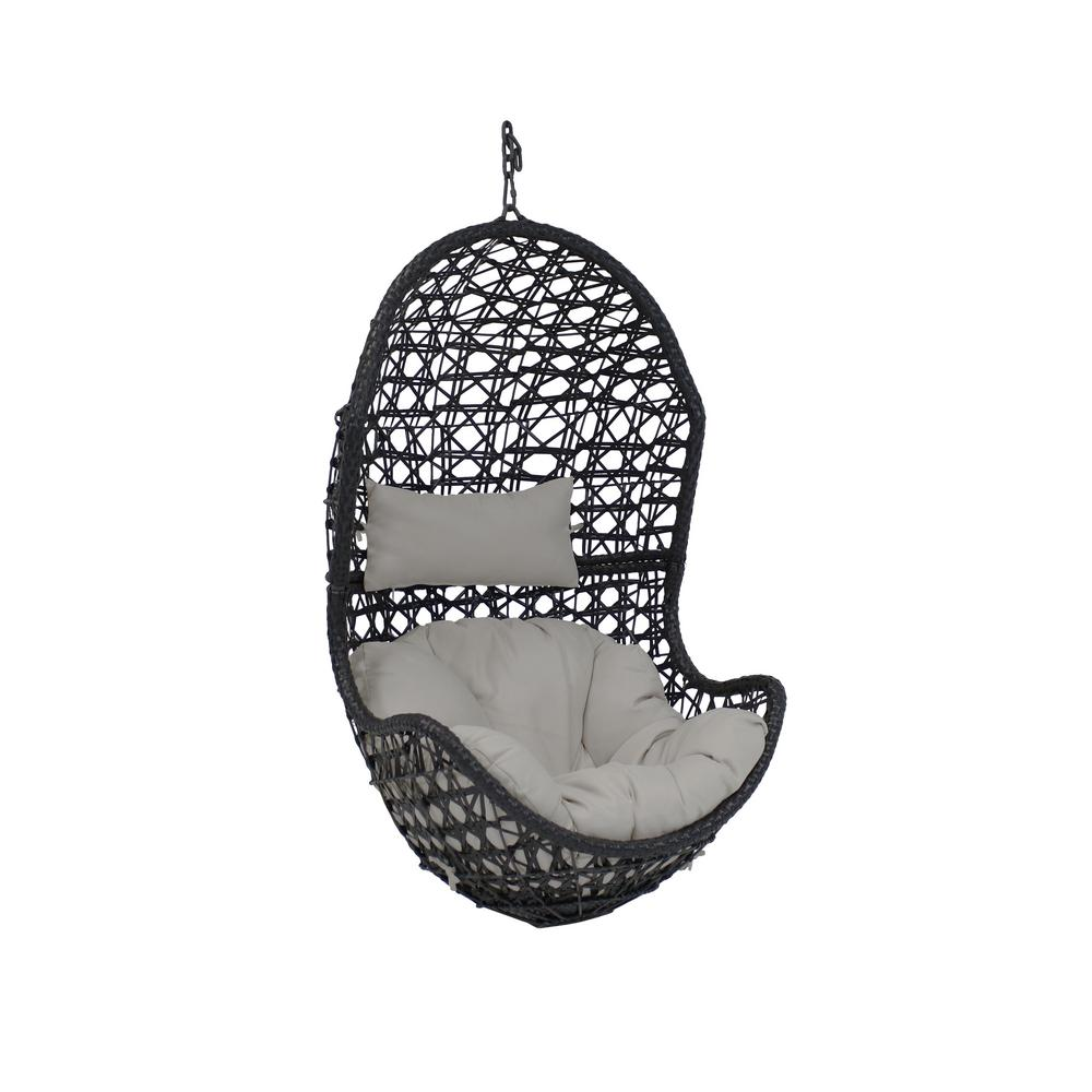 Egg Wicker Chairs Outdoor Sunnydaze Decor Cordelia Resin Wicker Indoor Outdoor Hanging Egg Patio Lounge Chair With Gray Cushions