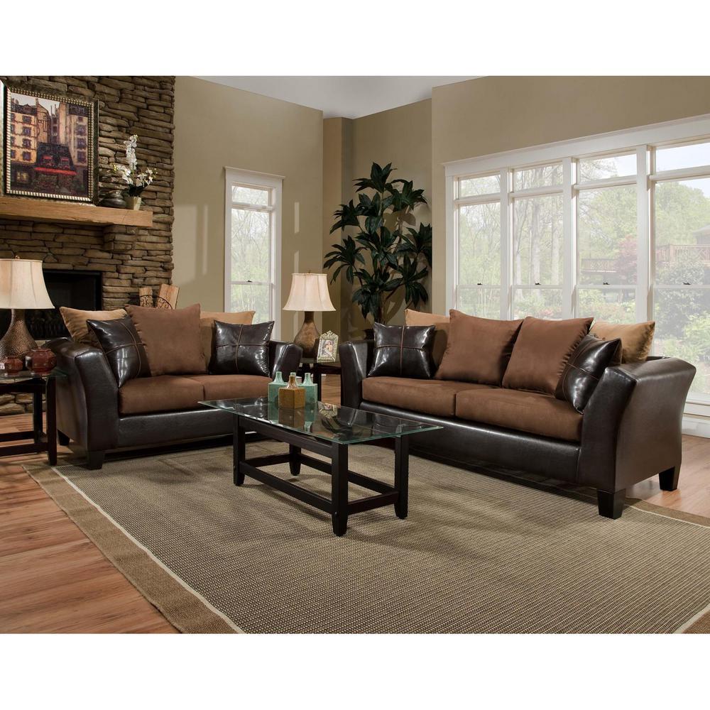 microfiber living room furniture contemporary white flash riverstone 2 piece sierra chocolate set
