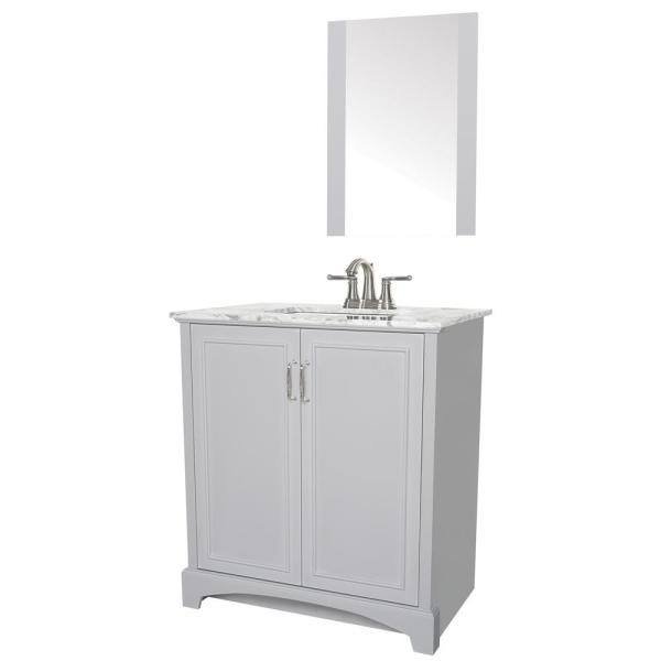 Sheffield Home Madison 30 In W X 19 In D Bath Vanity In Gray With Engineered Stone Vanity Top In Gray With White Basin And Mirror Ev429g The Home Depot