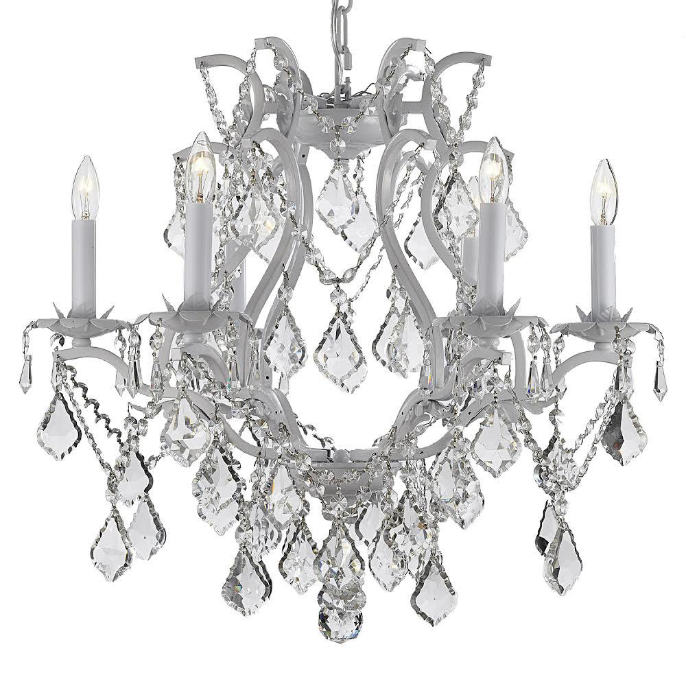 Versailles 6-Light Wrought Iron and Crystal White