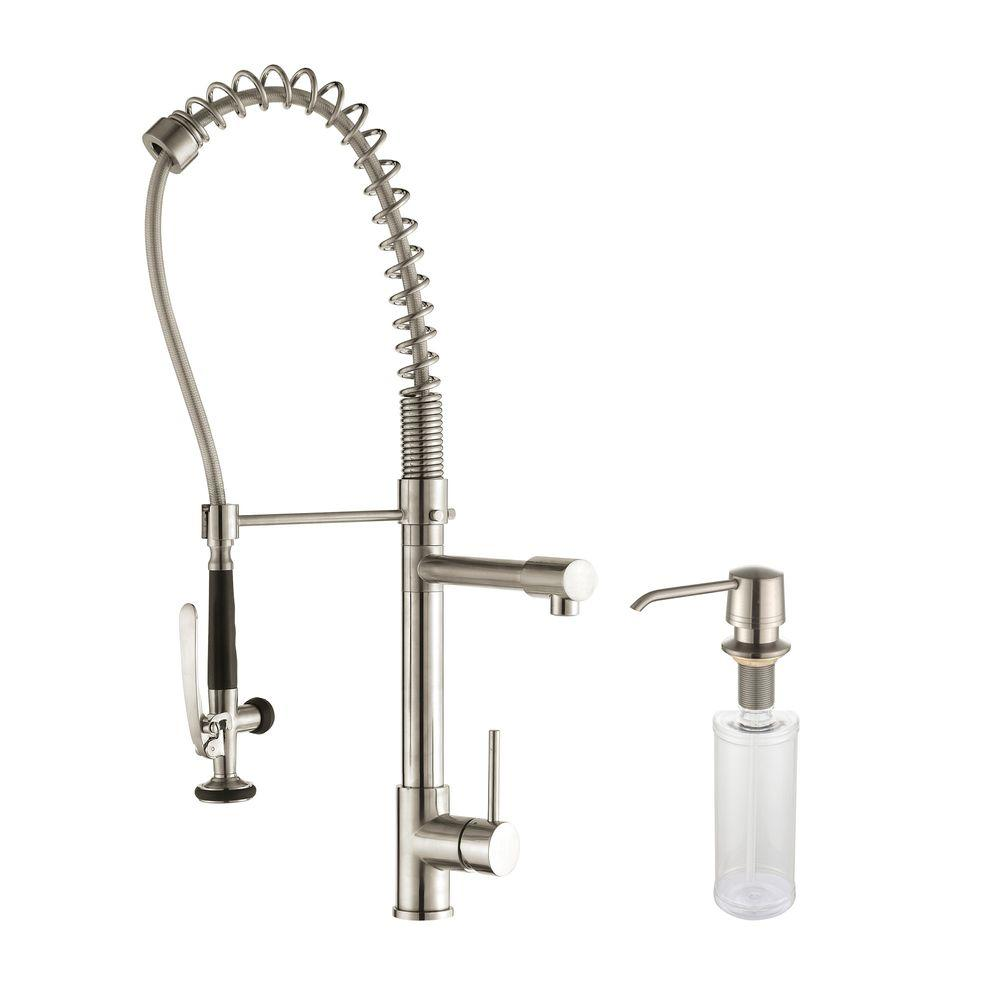 kraus kitchen faucet tile backsplash commercial style single handle pull down with pre rinse sprayer and soap dispenser in stainless steel