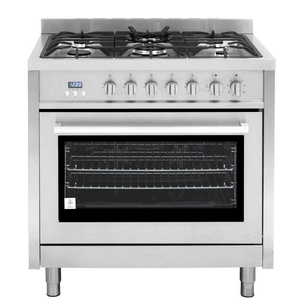 hight resolution of cosmo commercial style 36 in 3 8 cu ft single oven dual fuel