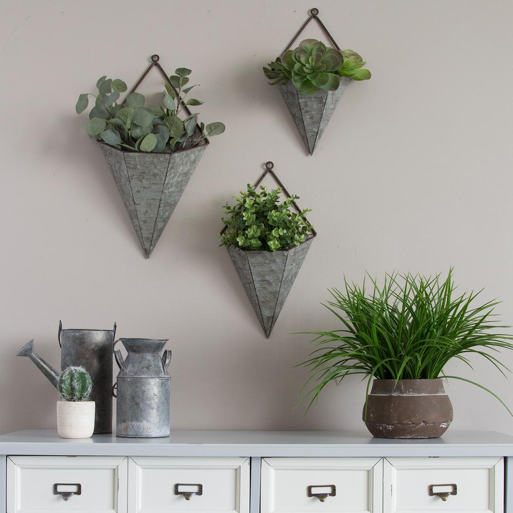 Stratton Home Decor 3 Piece Triangular Galvanized Metal Wall Planters S09553 The Home Depot