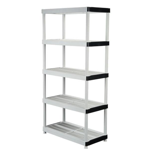 Plastic Storage Unit Ventilated Garage Shelving Rack Tier Organizer 5 Shelf Hdx 731161006401