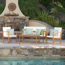 Luciano Brown 4-piece Wood Patio Conversation Set With