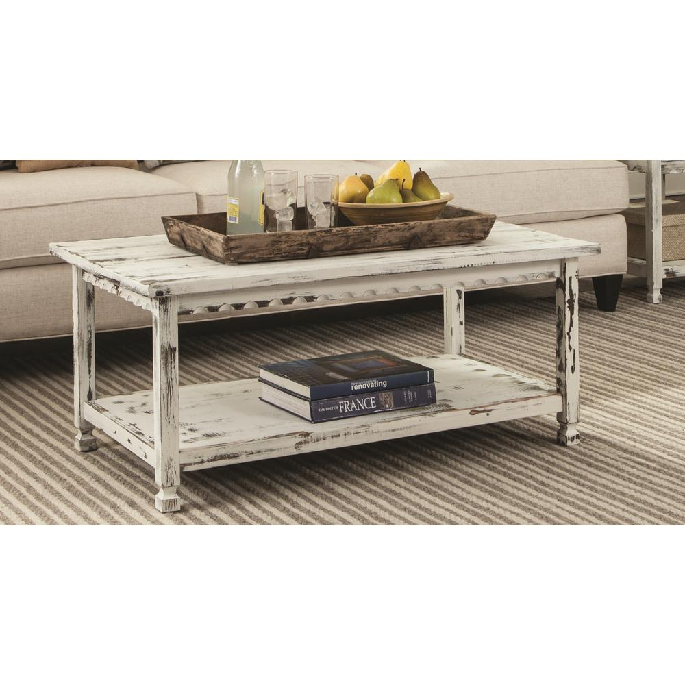 White Distressed Coffee Table Reclaimed Wood Antique