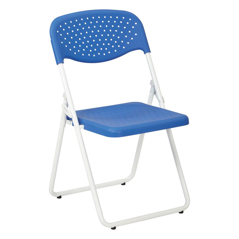 White Stackable Chairs Osp Home Furnishings Blue White Plastic Seat And Metal Stackable Folding Chair Set Of 4