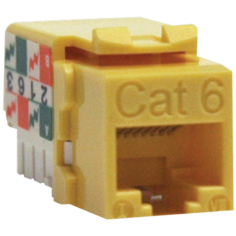 medium resolution of cat 6 cat 5e 110 style punch down keystone jack yellow