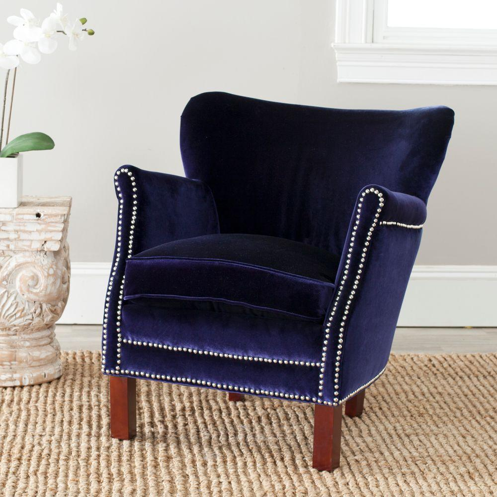 royal blue living room chairs modern with brown leather couch safavieh jenny cherry mahogany velvet polyester arm chair