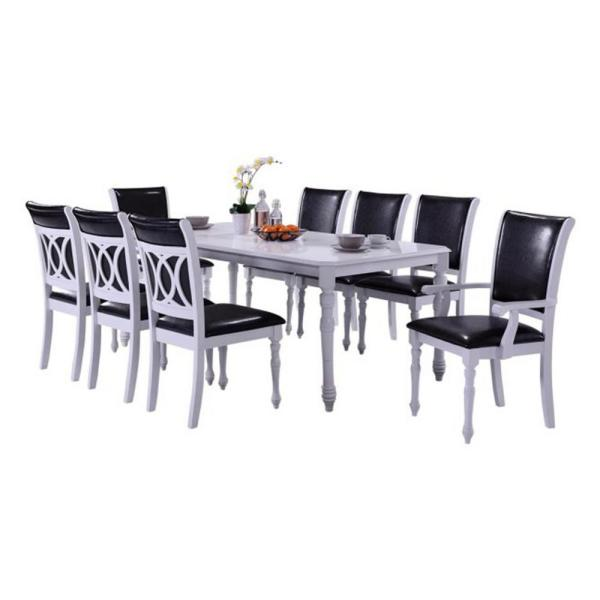 Oakland Living Indoor Black And White Modern 9 Piece Dining Set With A Solid Wood Rectangular Dining Table Hdvenice1 2 6 The Home Depot