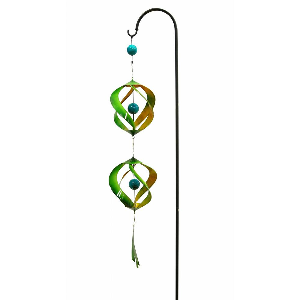 Alpine 40 in. Green and Yellow Metal Wind Spinner with