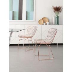 Mid Century Modern Wire Chair Exercises For Seniors In Wheelchairs Zuo Rose Gold Steel Dining Set Of 2 100361 The Home Depot