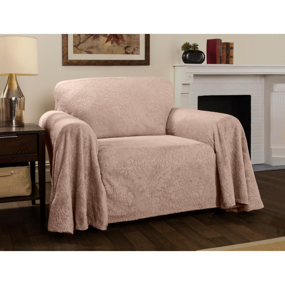 Damask Chair Plush Damask Slipcover Blush Throw Chair