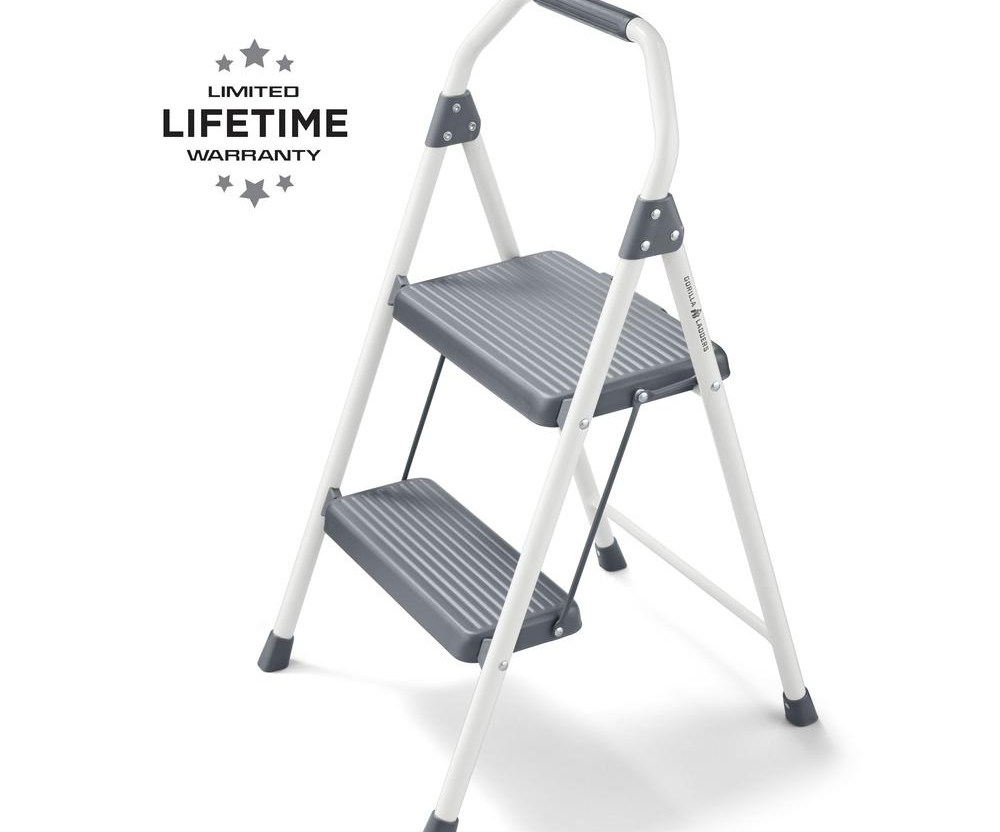 Gorilla Ladders 2 Step Compact Steel Step Stool 225 Lbs Load | Metal Steps Home Depot | Roofing | Galvanized Steel | Step Stool | Gorilla Ladders | Wrought Iron Railings