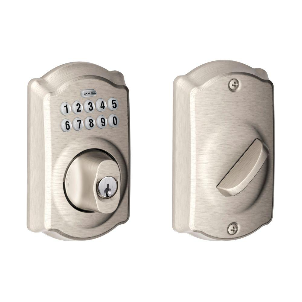 hight resolution of camelot satin nickel keypad electronic deadbolt
