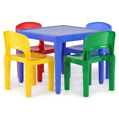 Kids Chair Set Oversized With Twin Sleeper Tot Tutors Playtime 5 Piece Primary Colors Plastic Table And
