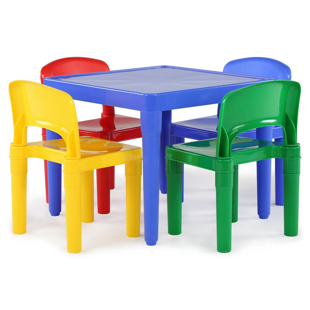 Infant Table And Chairs Tot Tutors Playtime 5 Piece Primary Colors Kids Plastic Table And