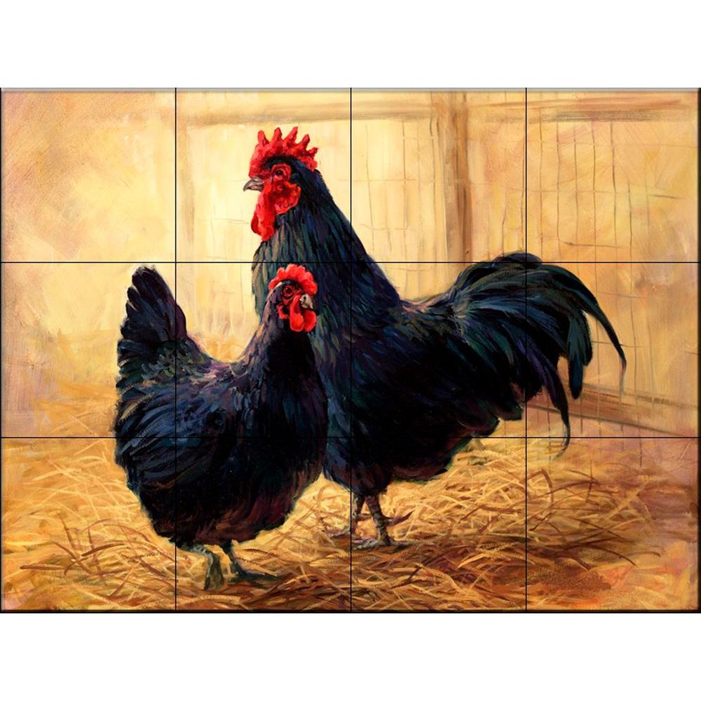 rooster rugs for kitchen wall tile the mural store hen and 17 in. x 12-3/4 in ...