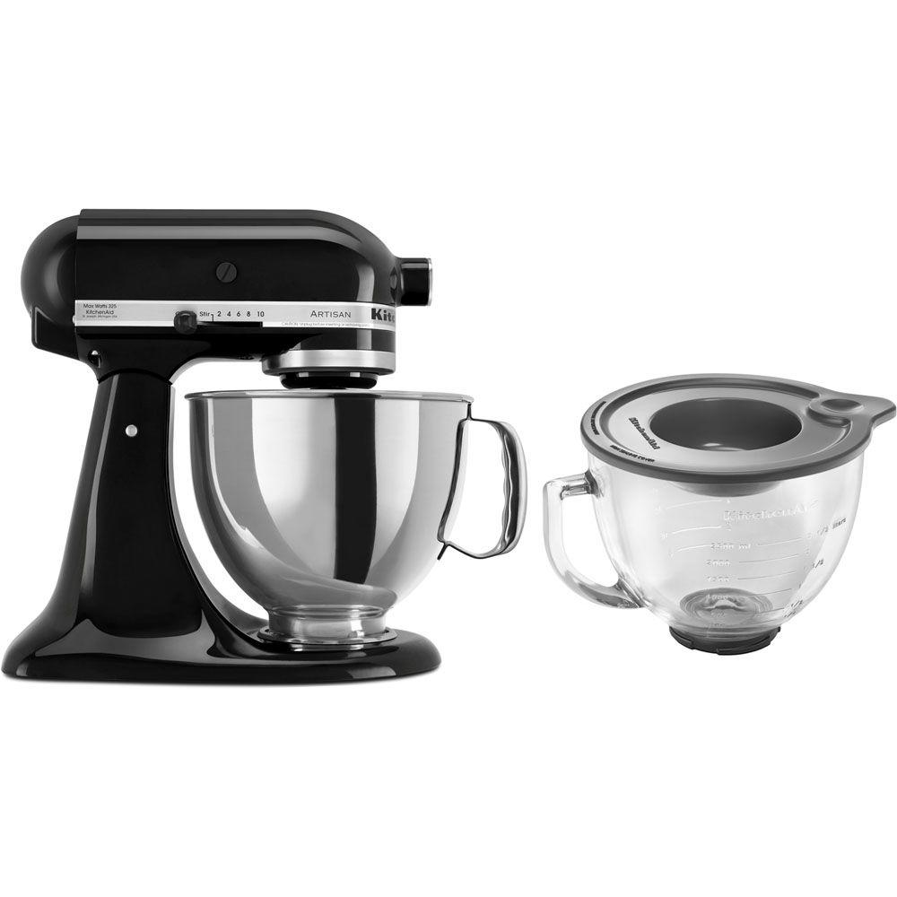 kitchen aid glass bowl sink racks kitchenaid artisan 5 qt onyx black stand mixer ksm150psob 3 kit